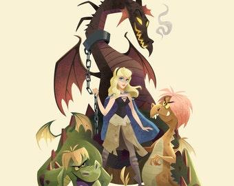 Game of Thorns | Disney/Game of Thrones Mashup | Fine Art Print | Aurora, Sleeping Beauty, Madam Mim, Maleficent | 8x10 | 11x14 | 13x19