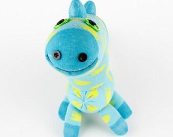 Free Shipping Handmade Sock Dinosaur Stuffed Animal Doll Baby Toys