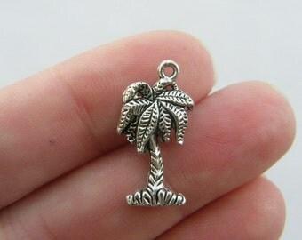 6 Palm tree charms tibetan silver T46