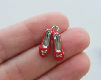 BULK 10 Shoe charms red and silver tone CA197