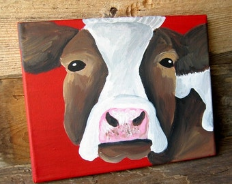 Country Cottage Cow Painting 8x10 Wall Art