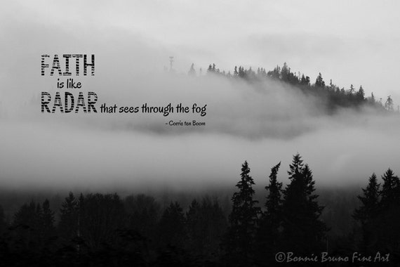 Faith In The Fog Inspirational Black And White Landscape