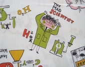 Vintage 60s Mid Century Mad Scientist Chemistry Lab Whimsical Fabric 4 yards