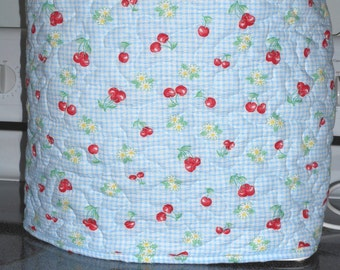 Quilted stand mixer cover - blue and white check with stems of cherries and white and yellow flowers