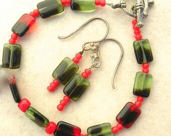 Sweet Holiday Green & Red Bracelet, Vintage German Glass Beads, Glass Seed Beads, Handmade Bracelet and Earrings Set by SandraDesigns