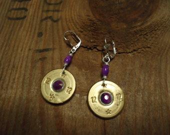 Purple Lavender 12 gauge shot gun shell earrings