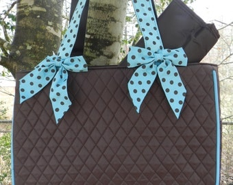 Personalized quilted diaper bag//baby shower gift
