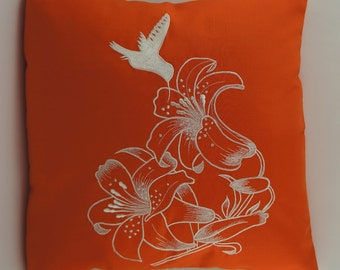 "ON SALE (Reg price is 24 USD) Hummingbird Pillow Cover, Embroidery, Spring Pillow, Summer Pillow, 18""x18"", Orange, Ready to ship"