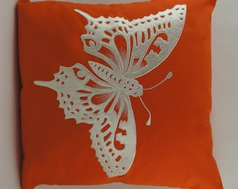 "Butterfly Pillow Cover, Embroidery, Spring Pillow, Summer Pillow, Decorative Pillow, Accent Pillow, 18""x18"", Orange, Ready to ship"