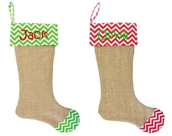 Monogram Burlap Christmas Stocking in Red or Lime Chevron