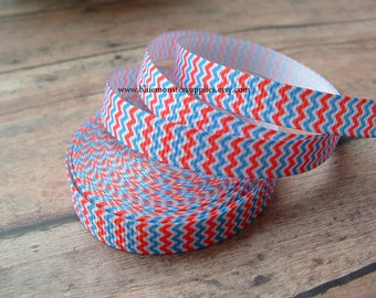 5 Yards 3/8 Inch Red White and Blue Chevron Grosgrain Ribbon