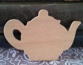 petite shabby teapot wood cut out