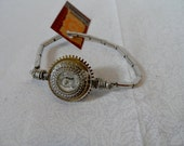 Glass and Gear Button Bracelet