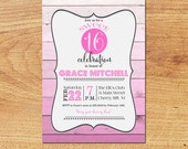 Sweet 16 Birthday Party Invitation-Digital Custom Card-Ombre Party Invitation