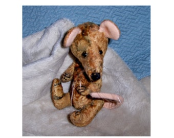 Teddy Rodant 6inch,  Poppy vintage viscose, jointed, glass eyes, one of kind , collectable,