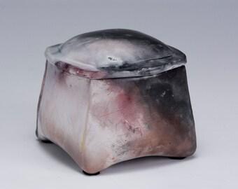 Pit-fired lidded ceramic box