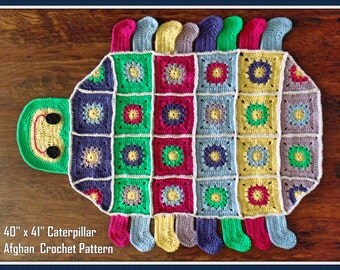 """40"""" x 41"""" Caterpillar Tummy Time  Afghan Crochet Pattern PDF - INSTANT DOWNLOAD."""