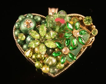 One of a Kind Repurposed Jewelry Heart Pendant 012315-1