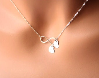 Forever love Necklace, Infinity with Two Initial Heart - STERLING SILVER, Customized Letter, romantic birthday gift, sweet Mother's Day gift