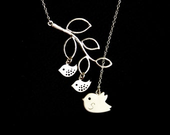Family Bird lariat Y Necklace, Initial mama bird with children and Leaf branch in Silver -  mothers necklace ,Sweet gift, for her, mom