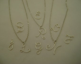 Initial Necklace Silver Plate