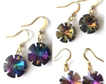 Crystal Starburst Earrings Gold Pierced Rhinestone Great Gift Idea Jewelry Blue Aurora Borealis Purple Pink wedding party bride mother
