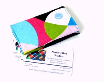 Business card holder, credit card case, gift for her, card organizer, purse accessory, bold bright, secure magnetic snap closure