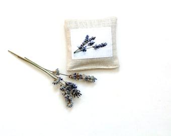 Lavender sachet, organic lavender sachet, scented drawer freshener, Summer bridal shower favor,  linen sachet, gift for her, aromatherapy