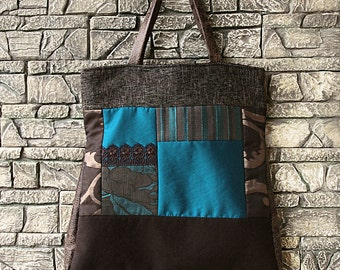 Teal Blue Brown Copper Fabric Leather Lace XL Tote Bag / Shoulder Bag / Weekender / Carry All Bag ROSANNA STYLE One-of-a-kind patchwork