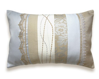 Cream Silver Gray Beige Pastel Lumbar Pillow Case 12 x 18 in IRMA DESIGN Limited Edition Off White