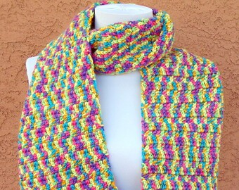 Bright Scarf - Bright Multicolor Scarf - Neon Yellow, Orange, Pink, Blue, Purple and Green Scarf - Super Hot, Trendy Scarf - Warm and Long