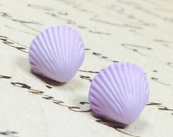Tiny Purple Seashell Earrings, Purple Sea Shell Posts, Nautical Jewelry, lavender Stud Earrings Beach Earrings Cottage Chic Amethyst Purple