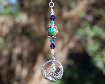 Mermaid Crystal Decoration, Rearview Mirror Car Charm, Color Changing Mood Bead, Swarovski Crystals, Home Decor, Ornament