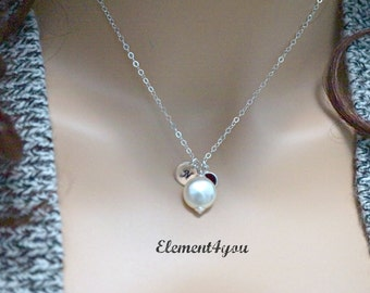 Birthstone necklace personalized initial necklace sterling silver monogram disc hand stamped friends gifts coin pearl charm Everyday jewelry