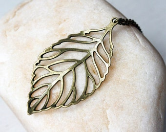 Antique Brass Big Leaf Necklace