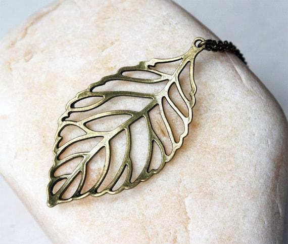 Antique Brass Big Leaf Necklace