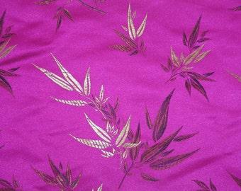 "BAMBOO LEAF Pattern Fabric, 18"" X 44"", 1/2 Yard, FUCHSIA Color, New, Rare"