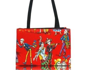 "USA Handmade Bag Shoulder Bag With ""DANCING Skulls"" Halloween Pattern Handbag With Top Snap Closure, Red, COTTON, New"