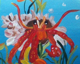 colorful painting,red hermit crab,under the sea theme, wall art,wall hanging,nursery art,sea life painting,ocean painting,under the sea art
