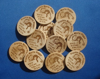 75 Custom Birth AnnouncmentMagnets - 1.5 inch Round Laser Engraved Magnets. Wonderful Birth announcements for New Baby