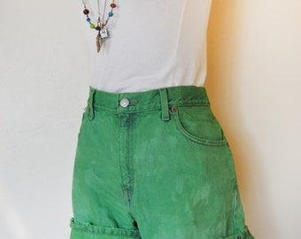 "Green Sz 10 Levi's Denim SHORTS - Hand Dyed Green Urban Style Denim High Waisted Vintage Shorts - Adult Womens Size 13 (34"" Waist)"