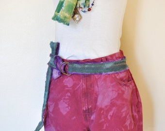 """Red Sz 12 Levi's SHORTS - Cherry Red Dyed Urban Style High Waist Dyed Denim Vintage Jean Shorts - Adult Womens Size 12 (32"""" Waist)"""