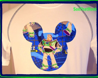 Disney Buzz Lightyear inspired custom t-shirt - matching socks also available -u pick t-shirt or athletic shirt. Boys, men's, girls, women's