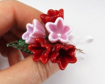 Red Pink glass flower bouquet, miniature nosegay, tussie-mussie, floral posy