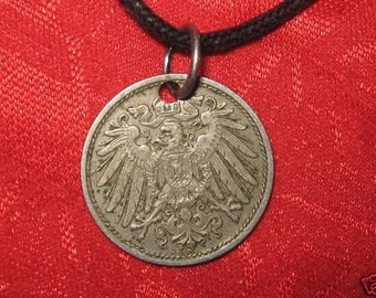 VINTAGE Early 1900's German Eagle Coin Pendant Necklace