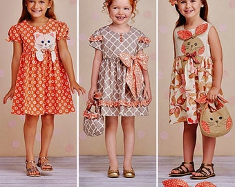 Girls' Dress Pattern, Simplicity Pattern 1208, Little Girls'  Dress and Purse, Sz 3 to 8