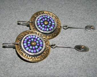 Purple and periwinkle handcrafted sterling silver, brass and seed-bead, mosaic drop earrings