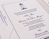 Lighthouse Wedding Invitation, Letterpress printed SAMPLE