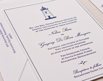 Lighthouse Wedding Invitation, Letterpress printed SAMPLE