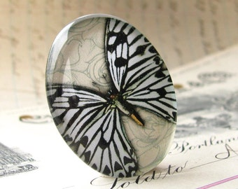 Original artwork, white butterfly cabochon, handmade 40x30 mm glass oval cabochon, black and white, 40x30mm 30x40mm, insect, glass cabochon